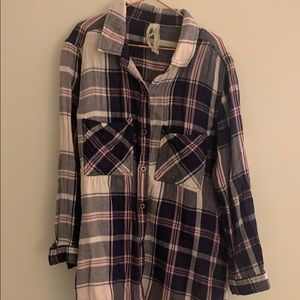 Seven Brand Pink and Navy Plaid Fannel